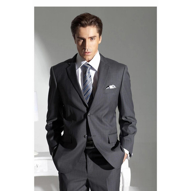 Fashion Dark Grey mens Suit terno masculino 2017 smoking Business ...