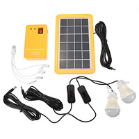 Hot Selling 3W Solar Power Panel Generator with 2 LED Lamps USB Charger Outdoor Garden