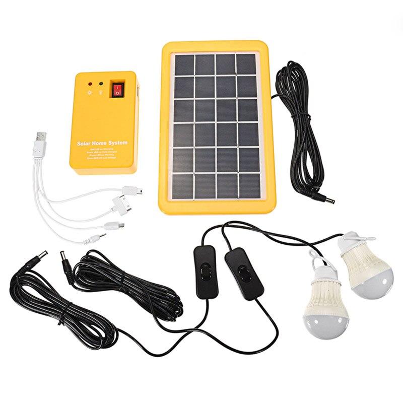 Vente chaude 3 W générateur de panneau d'énergie solaire avec 2 lampes LED USB chargeur jardin extérieur