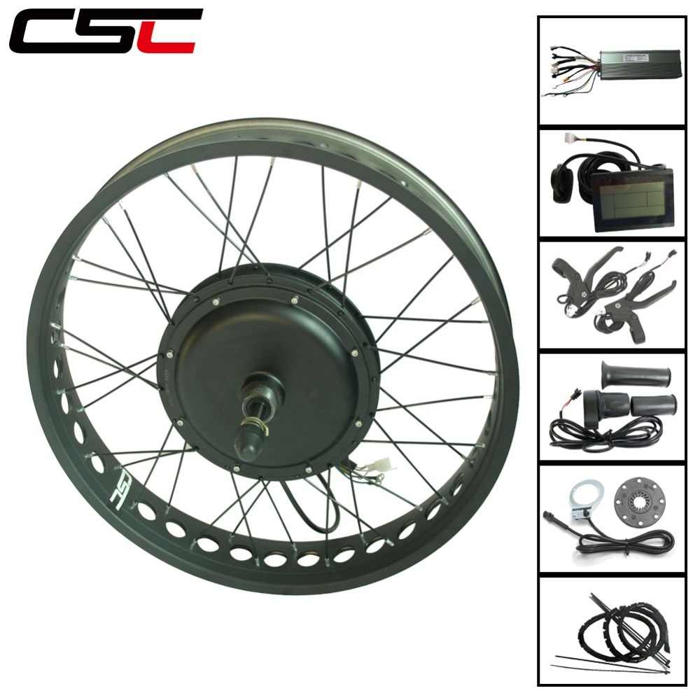 Snow Electric Bicycle front rear motor wheel 4 color 20 24 26 inch 4.0 Tyre 48v 1500w Bluetooth Fat eBike Conversion Kit