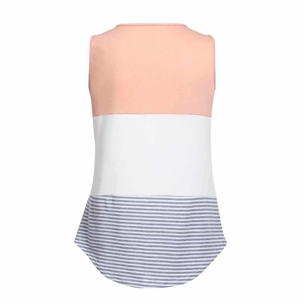 Nueva camiseta Casual de maternidad para mujeres sin mangas ropa de lactancia a rayas Patchwork de enfermería superior Casual embarazada camiseta ropa