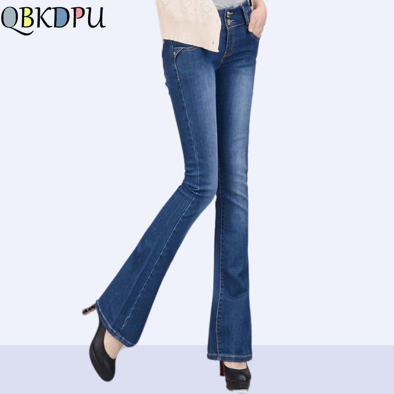 Women High Waist Blue Jeans Plus Size Female Stretch Slim Denim Flares Pants Breathable Fashion Bell Bottom Trousers 2019 New