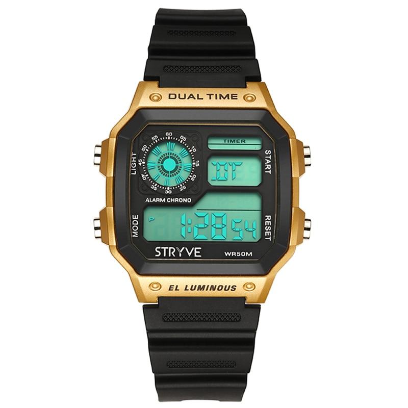 STRYVE спортивные часы Для мужчин лучший бренд класса люкс известный светодио дный цифровые часы мужской часы Для Мужчин Смотреть Relojes Deportivos ...