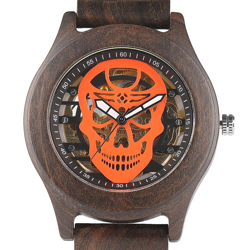 2017 Top Luxury Full Natural Wood Watch Men Skull Skeleton Mechanical Wristwatch Handicraft Unique Bamboo Male Sports Clock unique natural wood sunglasses