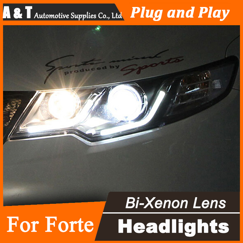 Car Styling for Kia Forte LED Headlight assembly Cerato Bi Xenon Headlights drl Lens Double Beam H7 with hid kit 2 pcs. hireno car styling headlamp for 2011 15 honda civic headlight assembly led drl angel lens double beam hid xenon 2pcs