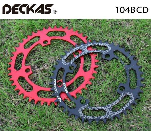 DECKAS 104BCD 40/42/44/46/48/50/52 T bicicleta de montaña de sillín MTB bicicleta de platos y bielas de aluminio estrecho y ancho plato BCD 104