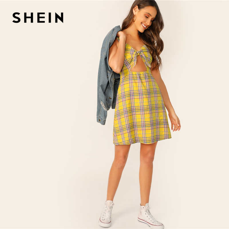 Шеин сексуальный сарафан желтый узел спереди плед Cami короткое платье; для женщин Повседневное пляжное Лето 2019 г. без рукавов выс