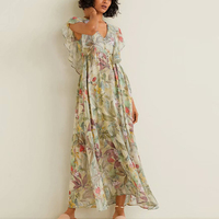 Boho Summer Dress Floral Printed Women Dress V neck Butterfly Sleeves Button Front Green Dresses Loose Vestidos For Vacation New
