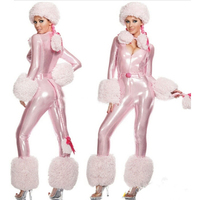 New Sexy High Quality Plush Model Cat Woman Halloween Costume Female Pink Onesies Animal Cosplay Costumes Party Apparel Patent L