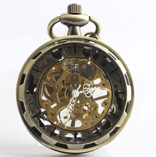 Classic Steampunk Gold Skeleton Bronze Stainless Steel Mens Woman Hand-winding mechanical pocket watch