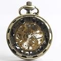 Классический Стимпанк Золото Скелет Бронзовый Нержавеющей Стали Мужские Женщина Ручной обмотки механические карманные часы