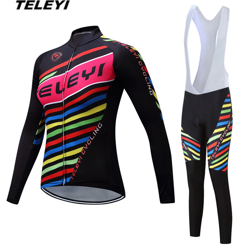 TELEYI MTB Bike jersey Bib Pants Set Women Cycling clothing Suit Ropa Ciclismo trouser Riding Long Sleeve Shirts Sports Red