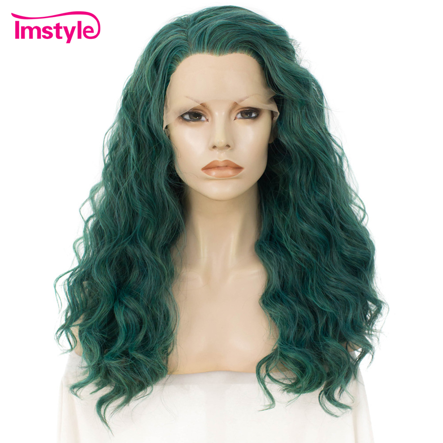Imstyle Green Wig Synthetic Hair Lace Front Wig Deep Wave Wigs For Women High Temperature Fiber Glueless Cosplay Part Wig