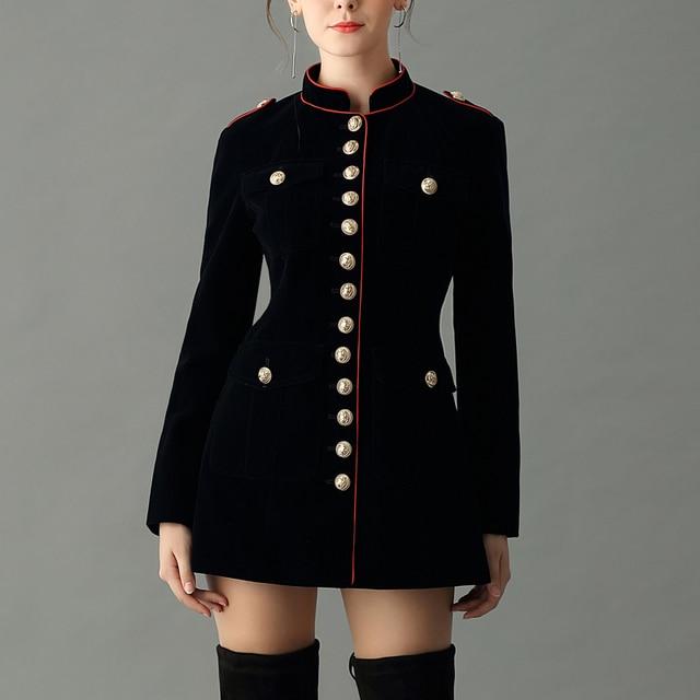 navy blue velvet military jacket autumn winter women s fashion jackets  button epaulet single-breasted long e2c30d5bc06