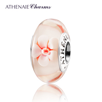 ATHENAIE Genuine Murano Glass 925 Silver Core Romantic Cherry Blossoms Charms Bead Fit All EuropeGreat Gift