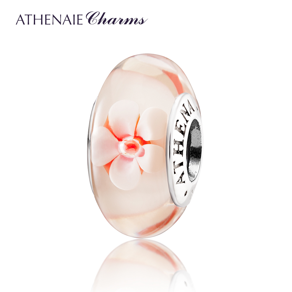 ATHENAIE Genuine Murano Glass 925 Silver Core Romantic Cherry Blossoms Bead Compatible European Bracelets DIY Jewelry