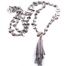 488ce4d29cff Envío gratuito nueva moda Bohemia joyería Rosa Concha y cuentas de cristal  anudado Halsband mujeres Chokers borla collar
