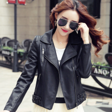Spring Autumn black short women PU leather jacket and coat zipper turn down collar cazadoras de cuero abrigos y chaquetas mujer