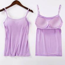 Women Padded Bra Tank Top Spaghetti Cami Vest Female Camisole With Built In