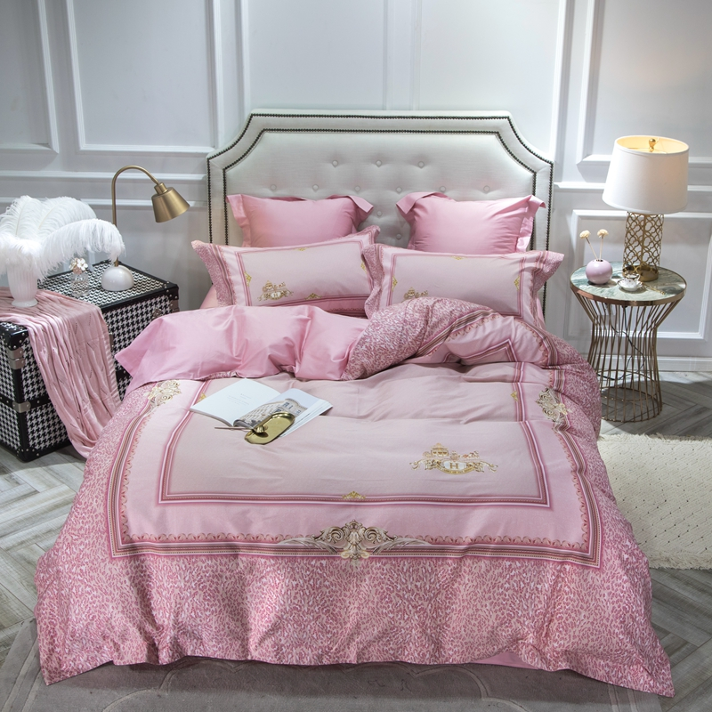 60S luxury sateen cotton bed sheets 4 piece pink leopard print duvet cover bedsheet and pillowcases