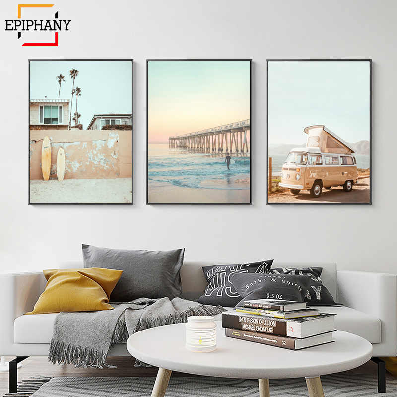 California Surf di Arte Stampe Arte Della Parete Spiaggia Della Stampa di Estate Tramonto Paesaggio della Tela di canapa Pittura Tavola Da Surf Boho Decor Coastal Poster