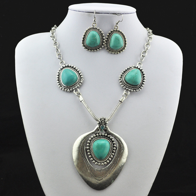 S171 Natural Stone Necklace Pendant & Earring Antique Silver ,Jewlery Set ,Women Gift,Vintage Look,Tibet Alloy