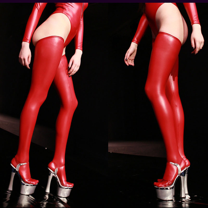 Sexy Women Plus Size Latex Shiny High Stockings Faux Leather Stockings Moto Biker Club Stage Wear Black Red Blue F30