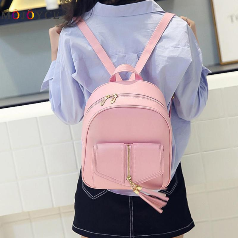 3pcs/set Tassels Bowknot Pu Leather Women Backpacks Cute School Backpacks For Teenage Girls Female Shoulder Bag #4