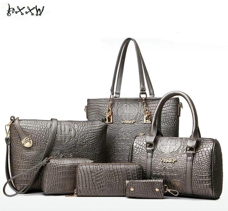 Fashion luxury designer crocodile PU leather Tote+Shoulder Satchel/Messenger+Clutches composite bags brand handbags set