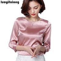 2018 New Silk Blouse Women Tops Fashion Elegant O Neck Three Quarter Sleeve Solid Shirt Women