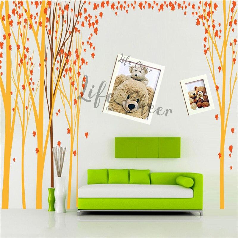 Folha de bordo árvore vinil adesivo parede do berçário decoração do quarto tema floresta arte decalques da parede crianças outono árvores ac242