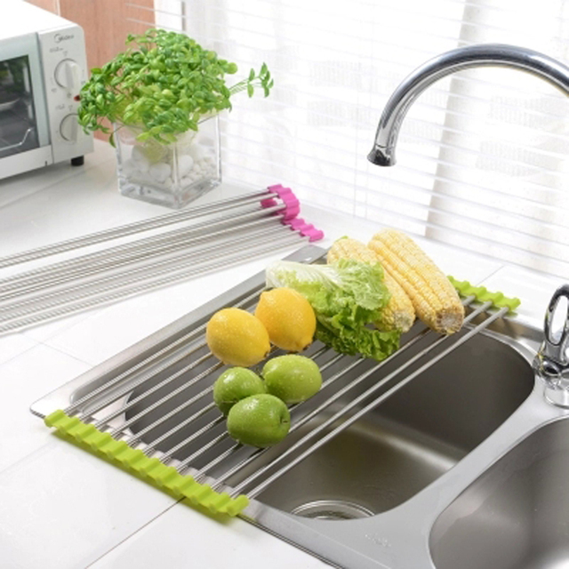 Sink Storage Rack Storage Basket Folding Stainless Steel Silicon Handy  Drainer Rack Holder Over Sink Drying