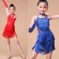 New 2017 Sequin Fringe Blue Pink Red Salsa Dress Child Girls Kids Latin Dresses Girls Latin Dance Costumes