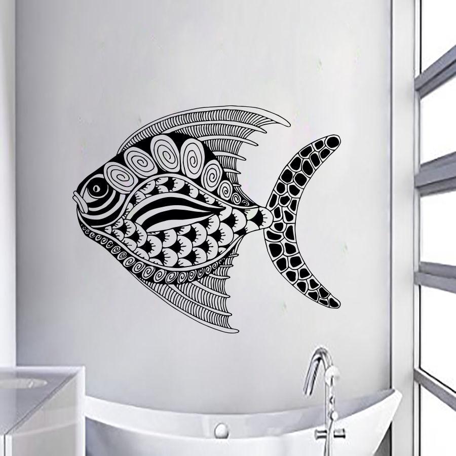 poissons stickers muraux autocollants en vinyle nursery chambre dcor interio conception art fentre autocollants salle de - Stickers Tuile Vinyle Salle De Bain