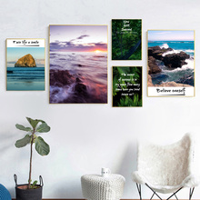 Ocean Wave Forest Leaves Bridge Wall Art Canvas Painting Nordic Posters And Prints Landscape Pictures For Living Room Decor