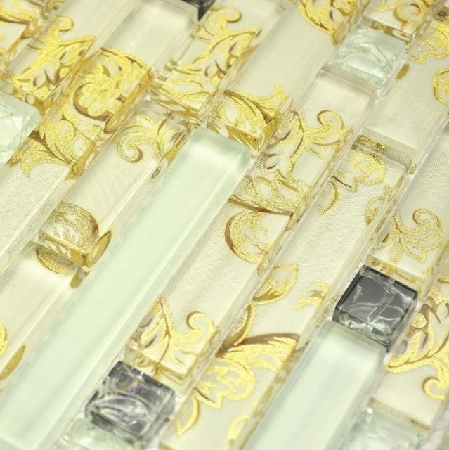 Streifen Gelb Farbe Gemischt Klar Zeichnung Glas Für Küche Backsplash  Fliesen Badezimmer Dusche Fliesen Grenze Flur