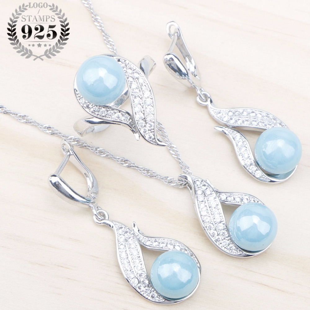 Zircon Earrings Jewelry-Sets Pearls Natural Pendant Stones 925-Silver Women Blue White