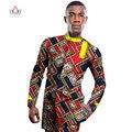 BRW 2017 Camisa de Los Hombres de Impresión de Cera Africana Africano Traje Más Tamaño Custom Top Manga Completa Mens Jakcet para Hombre WYN234 Africano Dashiki