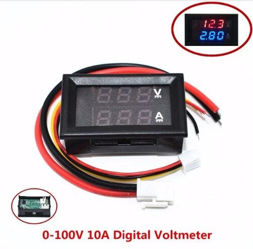 """DC 0 100V 10A Digitale Voltmetro Amperometro Doppio Display Rilevatore di Tensione di Corrente Tester di Pannello Amp Volt Gauge 0.28 """"Rosso Blu LED"""