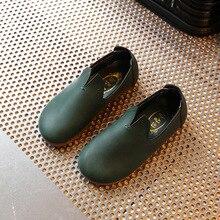 2018 new dark green leather waterproof simple boys and girls children children leather shoe
