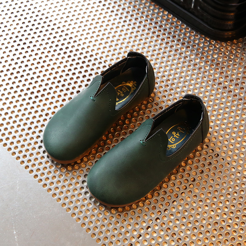 2018 New Dark Green Leather Waterproof Simple Boys And Girls Children Children Leather Shoes Kids School Children Moccasins