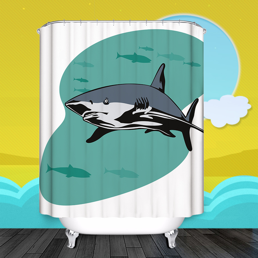 buy bath shower curtains shark pattern customized shower curtain waterproof polyester fabric shower curtain for bathroom from reliable