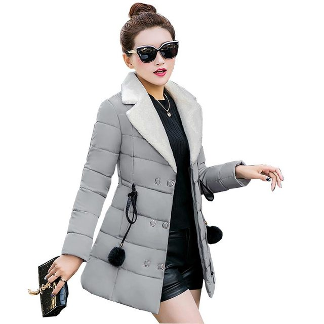 2016 autumn winter jackets slim turn cotton fleece collar coats women parkas sashes medium long cotton coats jackets kp0984