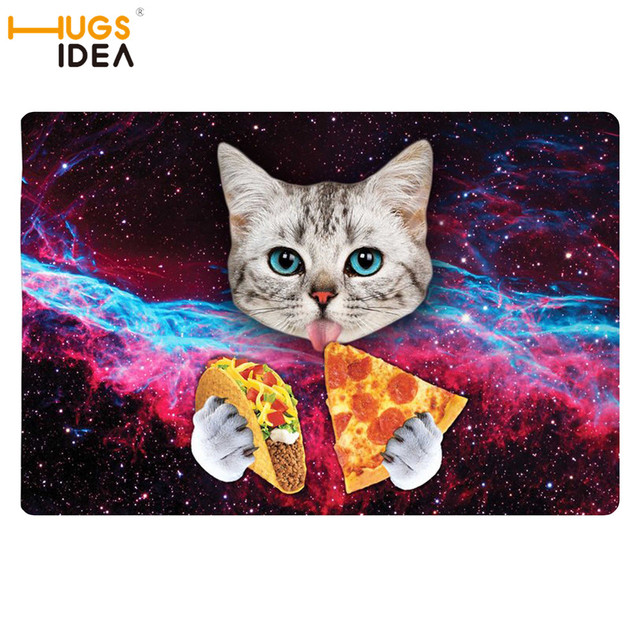 Hugsidea New Galaxy Space 3d Carpet Lovely Kitten Cat Eat