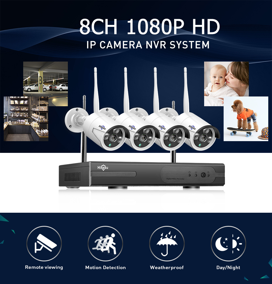 Hiseeu 8CH Wireless CCTV Security System 10