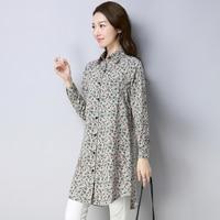 2018 Autumn Peter Pan Collar Casual Women Blouses Floral Long Women Tops Print Long Sleeve Artistic Shirt Women