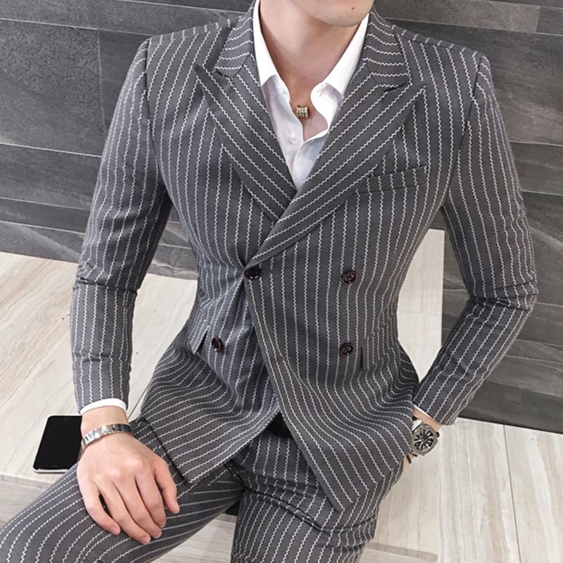 3 предмета (куртка + жилет + брюки) мужской двубортный костюм Модный Полосатый Свадебный костюм жениха, смокинг для мужчин повседневный деловой костюм - 2