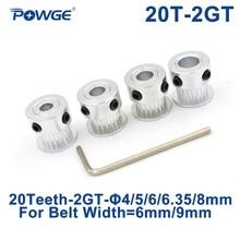 POWGE GT 20 Зубы 2GT 2 м зубчатый шкив Диаметр 4/5/6/6,35/8 мм для 2MGT GT2 синхронного ремня ширина 6/10 мм небольшой зазор 20 Зубы 20т
