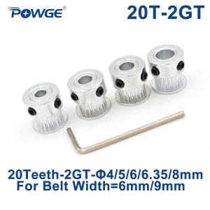 POWGE GT 20 Teeth 2GT 2M Timing Pulley Bore 4/5/6/6.35/8mm for 2MGT GT2 Synchronous belt width 6/10mm small backlash 20Teeth 20T(China)