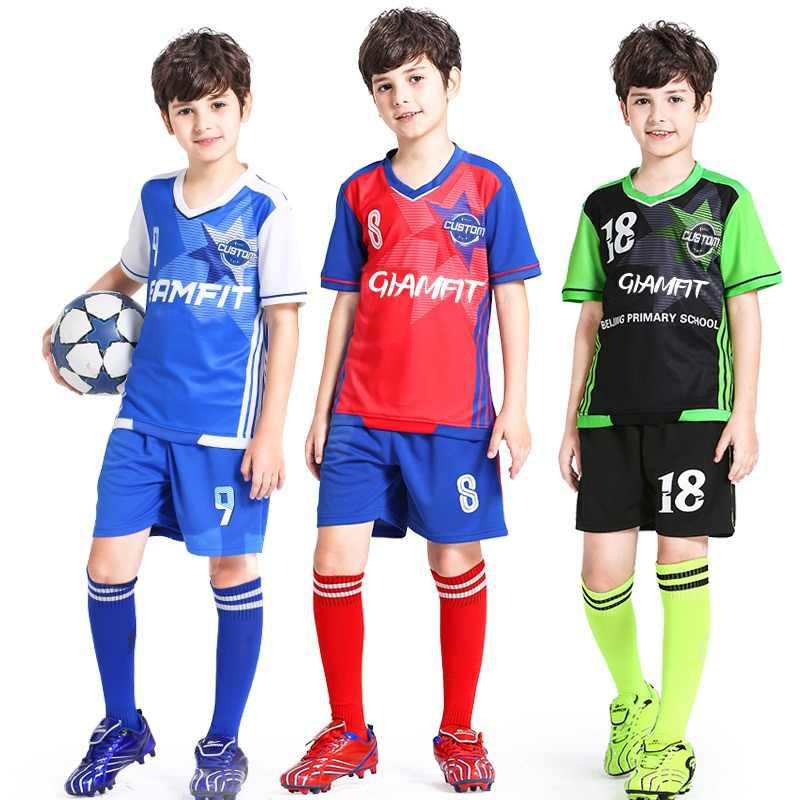 24d6723f0e0 Soccer Jersey 2018 Survetement Enfant Football Jersey Kids Team Training  Uniform Breathable Sports Clothing Custom Jersey